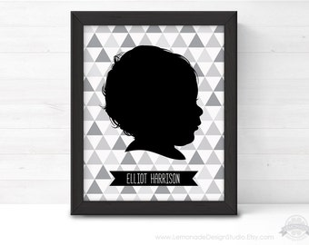 CUSTOM Childrens Silhouette Portrait, Monochrome Nursery Art, Nursery Art Printable, Monochrome Baby, Black and White Prints, Silhouette Art