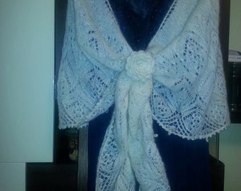 Hand knitted shawl/mohair lace shawl/estonian lace/spring shawl/lace stole/crochet knitted/Christmas gift