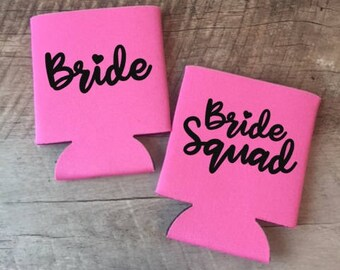 Bride Squad Can Coolers - Bachelorette Party Can Coolers - Bachelorette Can Coolers - Customized Bride and Bridesmaids Gifts - Squad Goals