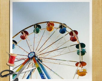 ferris wheel fun fair  Photography - Cushion Panel Upholstery Cotton Fabric Craft Panel, Sewing Quilting