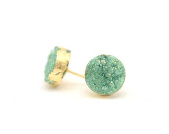 Turquoise Druzy Earrings • Mint Druzy Earrings • Mint Studs • Gifts for Her • Sparkly Earrings • Mothers Day • More Color Choices Available