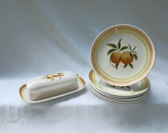Tangerine Ironstone butter dish ONLY, made in Japan, orange, yellow, green, white, picture of two tangerines,