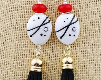 Black & White Tassel Beaded Earrings - Artisan Lampwork Glass, Red, Silver
