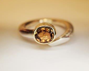 ring SILVER GOLD TOURMALINE