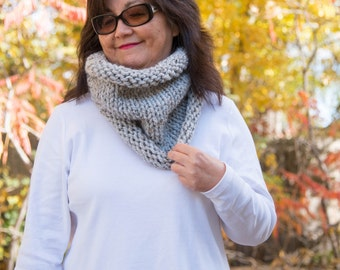 Knit Cowl, Chunky Rolled Knit Cowl - Grey Marble, READY TO SHIP