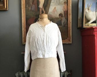 Antieke Franse witte katoenen blouse kant trim grootte M 12