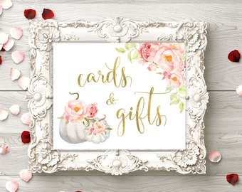 Cards and Gifts White pumpkin Bridal Shower Cards and Gifts sign printable Baby Shower sign Wedding decor wedding instant download   idwr87