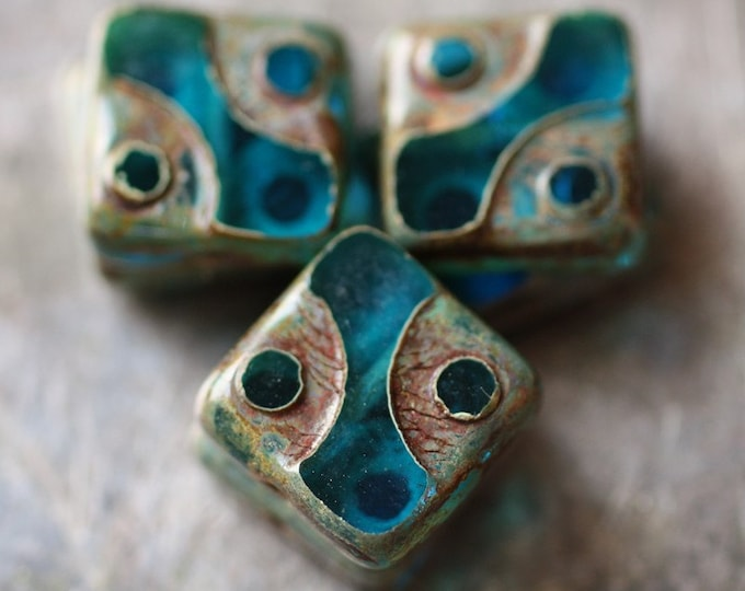 BLUE SQUARED .. 10 Premium Picasso Square Czech Glass Beads 10mm (2031-10)