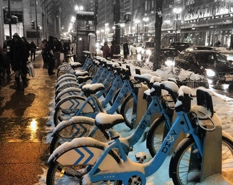Bikes in Snow in Chicago