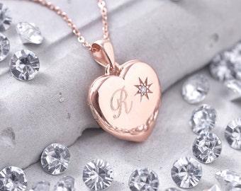 Personalised Genuine Diamond Rose Gold Locket (HBN01 / 38R)