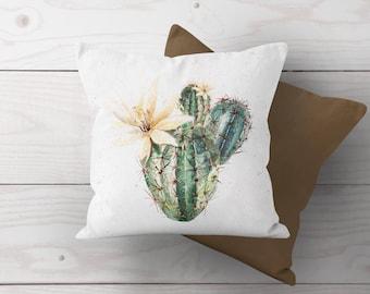 Boho Farmhouse Prickly Pear Cactus Throw Pillow Cover