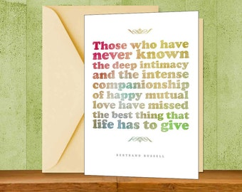 Bertrand Russell Inspirational Quote Greeting Card, Colorful Instant  Download, Valentine Card Printable, Literary