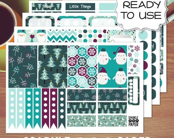 Blue Christmas Weekly Layout Stickers for MAMBI Happy Planner