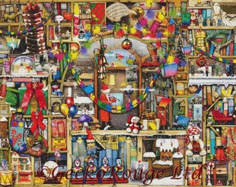 Modern Cross Stitch Kit, EXTRA LARGE, Advanced, Bookshelf, Christmas Stories, Colin Thompson, Book Cross Stitch, Counted NeedleCraft Kit