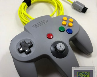 Nintendo 64 controller (gray) with repaired/refurbished joystick and custom-length Paracord cable