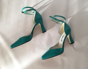 sea glass green leather heels / double ankle straps heels / golden buckles strappy high heels / 6.5