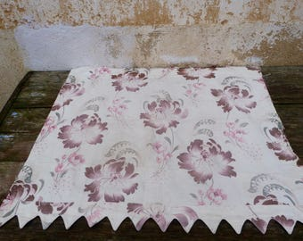 """Vintage Antique French Victorian 1890s faded colors printed floral cotton fabric 29.5 """" x 21.6 """""""