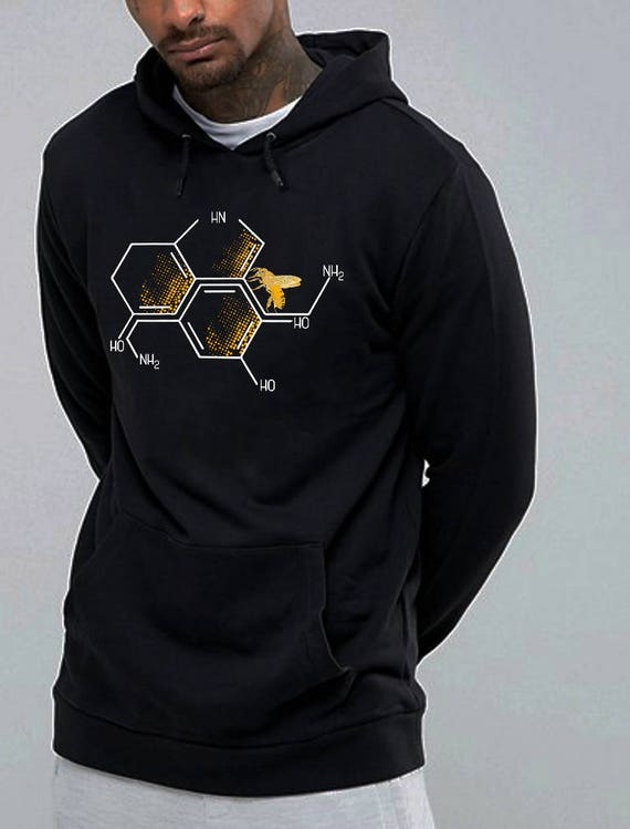 Nectar of Life | Unisex Heavy Blend Hooded Sweatshirt | Serotonin and Dopamine chemical formulas| Bee honeycomb | Chemistry geek |ZuskaArt