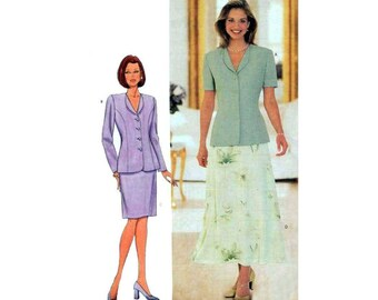 """Straight Skirt, A-Line Skirt and Lined Jacket, Women's Sewing Pattern, Misses Size 14, 16, 18 Bust 36 38 40"""" Uncut Butterick 5999"""
