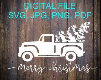 Vintage Christmas Truck SVG File, Christmas Tree Truck SVG, Old Truck, Christmas Tree, Holiday Cut File, Cut File, Silhouette Cut File