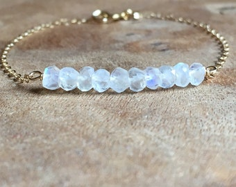 Moonstone Bracelet - June Birthstone Bracelet - Moonstone Jewelry - Dainty Beaded Bracelet - Birthstone Jewelry Gift - Gold or Silver