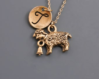 Sheep necklace, Sheep with bell charm, antique gold necklace, personalized infinity necklace, friendship jewelry,Monogrammed Necklace