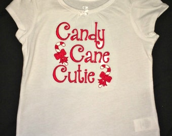 Candy Cane Cutie embroidered Christmas shirt