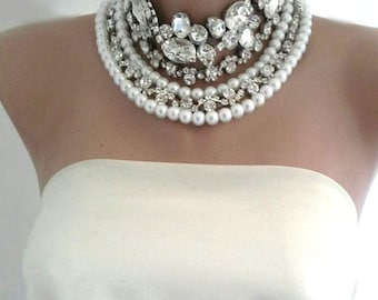 NEW Collection Bold Bridal Glass Pearls and Rhinestone Necklace