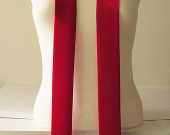 """Red Skinny Scarf, 80""""x2"""", Long Thin Scarf with Angled Ends, Crepe Choker Scarf, Bow Tie, Narrow Scarf, Neck Tie, Women Accessories, For Her"""