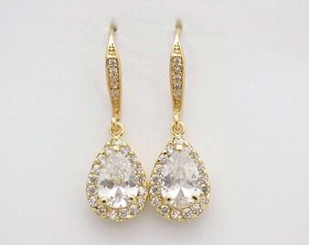 Gold Drop Bridal Earrings, Wedding Jewelry, Cubic Zirconia, Teardrop Dangle Earrings, Gold Bridesmaid Earrings, Bridal Jewelry, Emma
