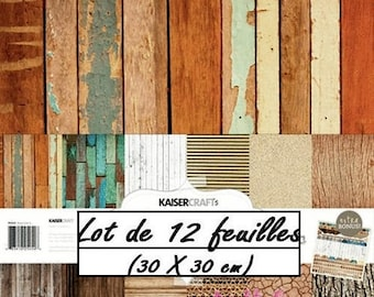 "Set of 12 leaves theme ""BASE COAT III"" 30 X 30 cm scrapbooking (réf.210) *."