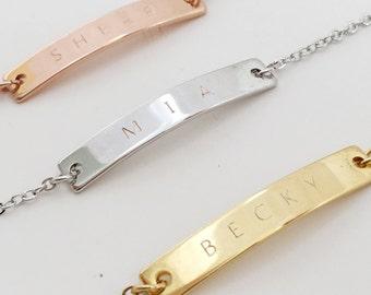 Engraved Bracelets: Engraved Bracelets, Personalized Bar Bracelet, Bracelet with Name, Monogram Initial Bracelet, Personalized Wedding Gifts