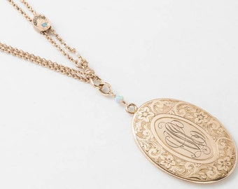 Victorian Locket, Locket Necklace in Gold Filled with Genuine Opal & Pearl, Flower and Leaf Engraved on Antique Slide Chain, Vintage Jewelry