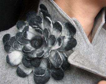 Elegant Black and White Ardea Dahlia -- Felt Flower Brooch -- Hand felted wool -- size Large