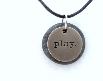Play Necklace, Word Pendant, Polymer Clay Inspirational Jewelry