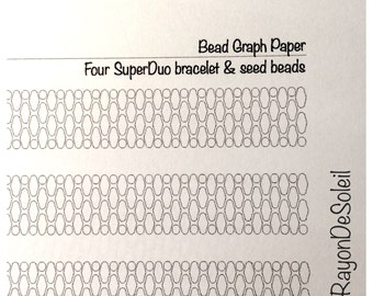 graph paper four superduo bracelet four bead each time with seed beads diy jewelry design coloring page instant download pdf