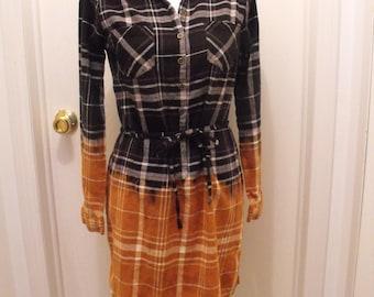 Bleached MERONA Flannel Dress Grunge Hippie Fashion Size S Small Groovy Fashions Mini Dress