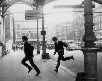 The Beatles running into Marylebone Station john lennon, paul mccartney, ringo starr, george harrison, photography, picture, print, fine art
