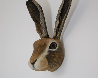 paper clay papier mache faux taxidermy hare head (made to order)