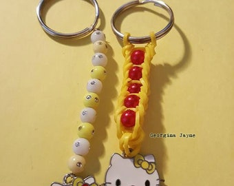 2 x Hello Kitty bag charm/keyrings