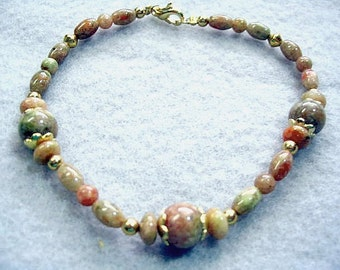 Natural Jasper Stone Bead Bracelet, Fall Fashion, Gold Filled Clasp, Handmade Autumn Jasper Gemstone Beaded Jewelry