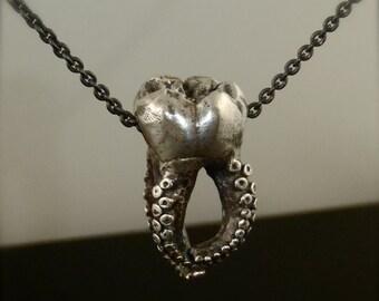 SALE -  Wisdom Tooth Tentacle Pendant, Octopus Pendant, Molar Jewelry, Tooth Jewelry, Octopus Pendant, Teeth, Octopus Jewelry, Tentacle
