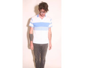Vintage 1980s Baby Blue and White Polo Short Sleeve Striped Mens Claybrooke Shirt size L