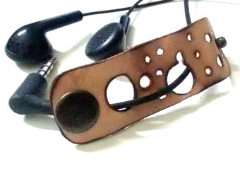 Leather earphone holder , Cord organizer, Earphone Cable organizer