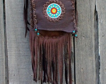 Leather crossbody handbag, beaded sunburst fringed bag