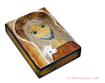 The Good Shepherd - ACEO Giclee print mounted on Wood (2.5 x 3.5 inches) Folk Art  by FLOR LARIOS