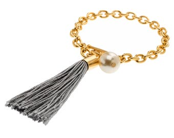 Modern Bracelet, Charm Bracelet, Pearl Charm Bracelet, Tassel Charm, Tassel Bracelet, Tassel Jewelry, Fringe Bracelet, Chain Bracelet