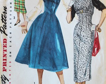 Vintage Sewing Pattern - Uncut 1950s Dress Pattern - Simplicity 1734