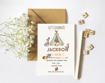 Boys Woodland Invitation //Boy Birthday Invitation // Tribal Invitation // Digital Printable file // Tipi