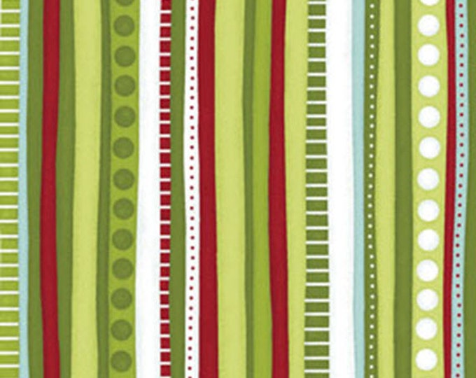 CHRISTMAS PURE and SIMPLE - Multi Stripe in Bamboo Green / Red - Cotton Quilt Fabric - Nancy Halvorsen - Benartex Fabrics - 4383-42 (W1769)